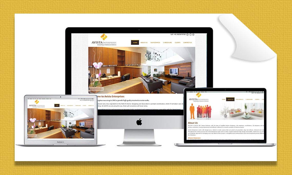 Avista Enerprises Website Desktop Design